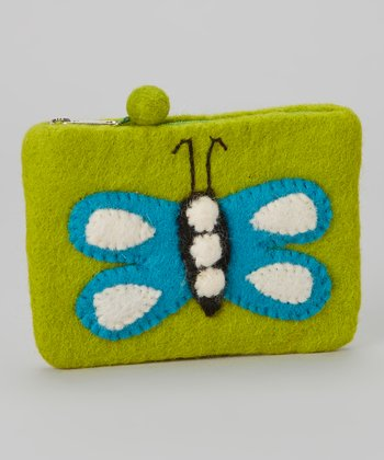 Green Butterfly Wool-Blend Coin Purse