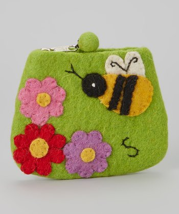 Green Bee Wool-Blend Coin Purse