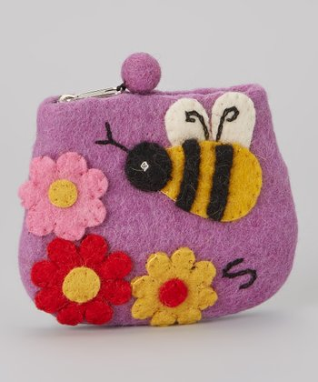 Purple Bee Wool-Blend Coin Purse