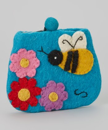 Turquoise Bee Wool-Blend Coin Purse