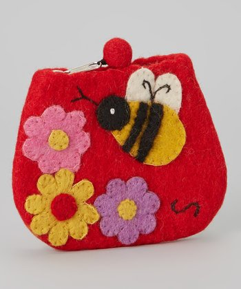 Red Bee Wool-Blend Coin Purse