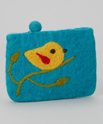 Turquoise Bird Wool-Blend Coin Purse