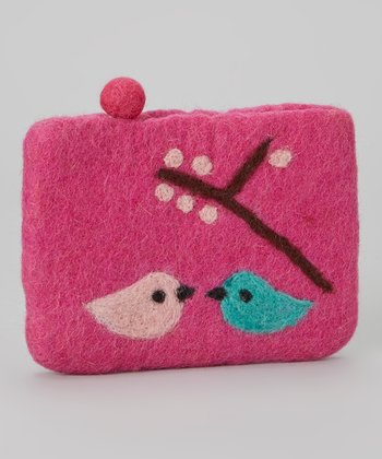 Pink Lovebird Wool-Blend Coin Purse