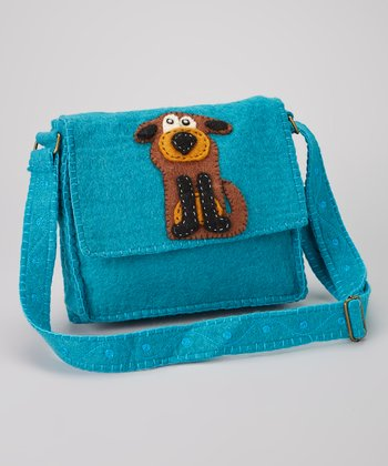 Turquoise Dog Wool-Blend Messenger Bag