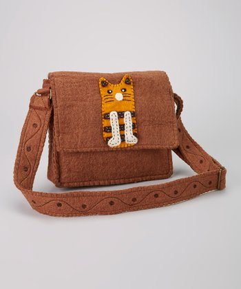 Brown Cat Wool-Blend Messenger Bag