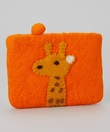 Orange Giraffe Wool-Blend Coin Purse