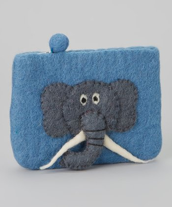 Blue Elephant Wool-Blend Coin Purse