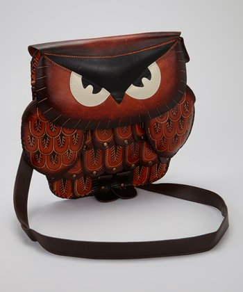 Brown Owl Leather Crossbody Bag