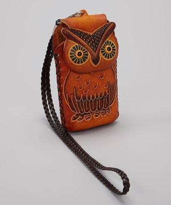 Brown Owl Leather Cell Phone Case