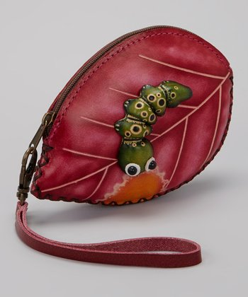 Pink & Green Caterpillar Wristlet