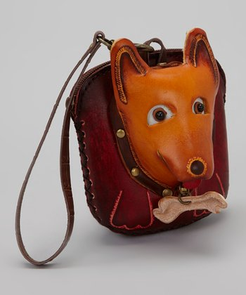 Brown Terrier Leather Wristlet
