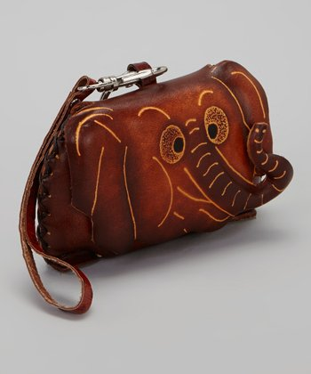 Brown Elephant Leather Coin Purse
