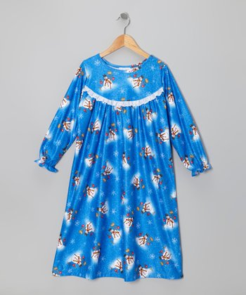 Royal Blue Snowman Ruffle Nightgown - Toddler