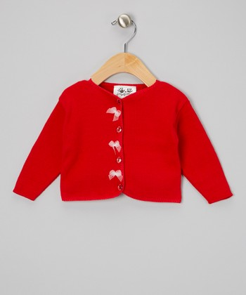 Red & White Bow Cardigan - Infant