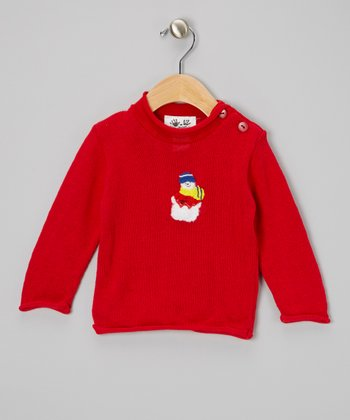 Red & White Snowman Roll-Neck Sweater - Infant, Toddler & Kids