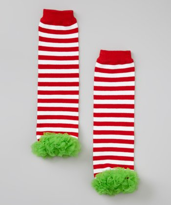 Red & Green Stripe Ruffle Chiffon Leg Warmers