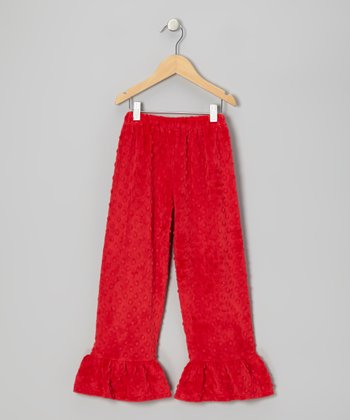 Red Zigzag Minky Dot Ruffle Pants - Infant, Toddler & Girls