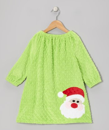 Bright Lime Santa Minky Dot Peasant Dress - Infant, Toddler & Girls