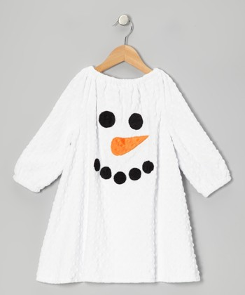 White Snowman Minky Dot Peasant Dress - Infant, Toddler & Girls