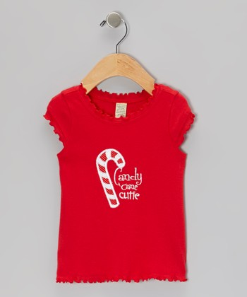Red 'Candy Cane Cutie' Ruffle Tee - Infant, Toddler & Girls