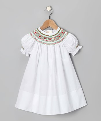 White & Red Bishop Dress - Infant & Toddler