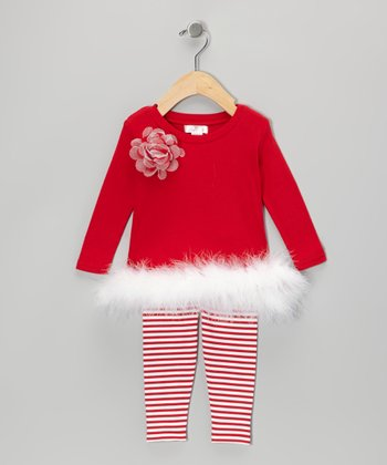 Red Flower Maribou Tunic & Stripe Leggings