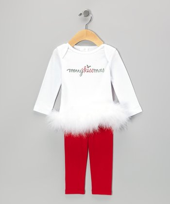 White 'Merry Kissmas' Lapneck Tunic & Red Leggings