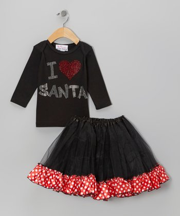 Black 'I Love Santa' Tee & Tutu - Infant, Toddler & Girls