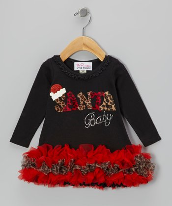 Black 'Santa Baby' Ruffle Dress - Infant, Toddler & Girls