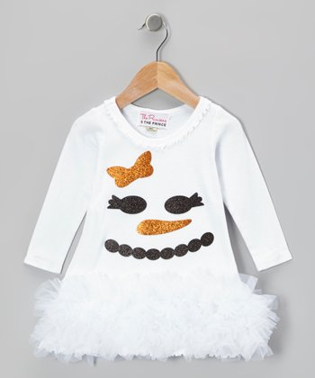 White Glitter Snowman Ruffle Dress - Infant, Toddler & Girls