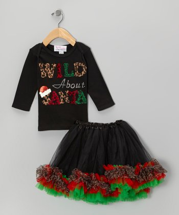 Black 'Wild About Santa' Tee & Tutu - Infant, Toddler & Girls