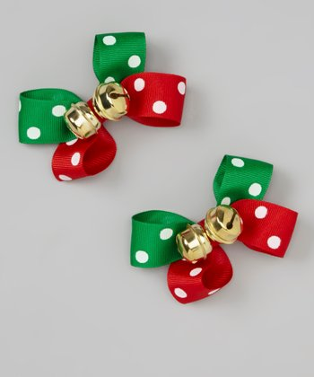 Red & Green Polka Dot Jingle Bell Bows Set
