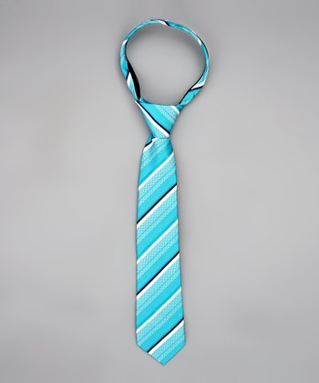 Turquoise & White Stripe Tie - Infant