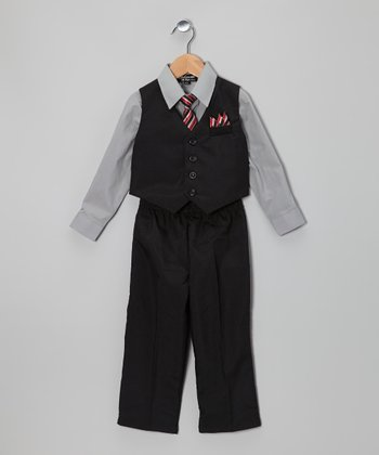 Black & Dark Gray Vest Set - Infant & Toddler