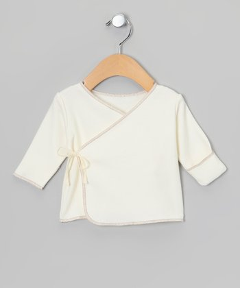 Ecru & Brown Long-Sleeve Organic Wrap Tee - Infant