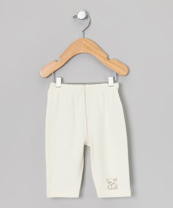 Ecru & Brown Elephant Organic Pants - Infant