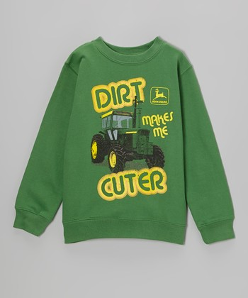 Green 'Dirt Makes Me Cuter' Sweatshirt - Boys