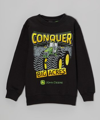 Black 'Conquer Big Acres' Sweatshirt - Boys