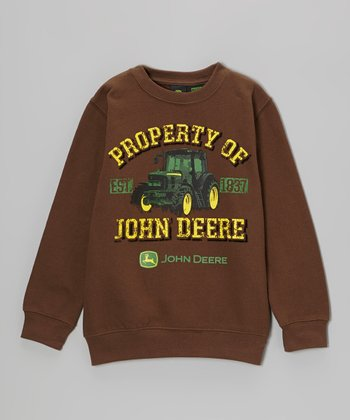 Brown 'Property of John Deere' Sweatshirt - Boys