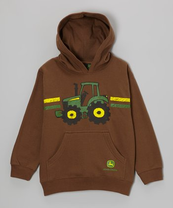 Brown Cartoon Tractor Hoodie - Boys