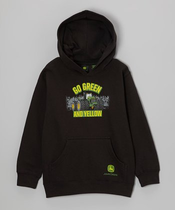 Black 'Go Green and Yellow' Hoodie - Boys