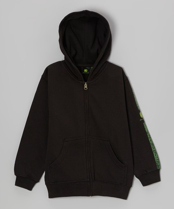 Black 'My Tractor Rules' Zip-Up Hoodie - Boys