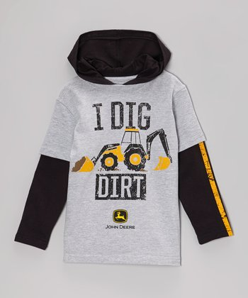 Gray 'I Dig Dirt' Layered Tee - Boys