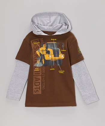 Brown Tractor Specs Layered Hooded Tee - Boys