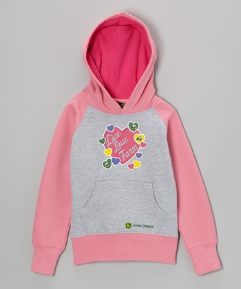 Heather Gray 'Live Love Farm' Hoodie - Girls