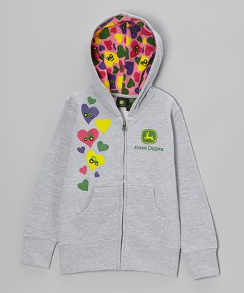 Heather Gray Tractor Hearts Zip-Up Hoodie - Girls