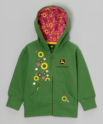 Green Tractor Love Zip-Up Hoodie - Girls