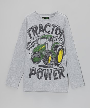 Heather Gray 'Tractor Power' Long-Sleeve Tee - Boys