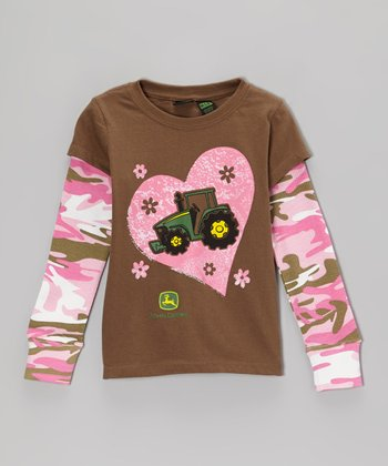 Dark Brown Tractor Love Layered Tee - Girls