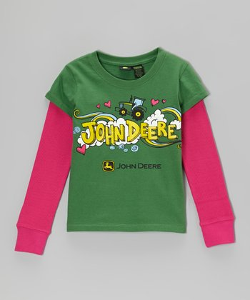 Green John Deere Love Layered Tee - Girls